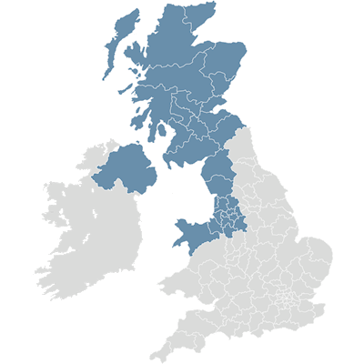 Map of Architas Business Development NW, Scotland and NI UK coverage