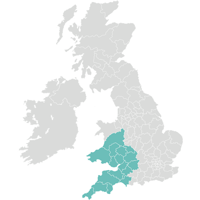 Map of  Architas Business Development SW UK coverage